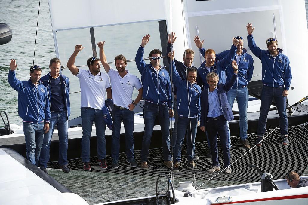11 Juillet 2016, Baptême du Catamaran Groupama Team France en présence de Franck Cammas, Michel Desjoyeaux, Olivier de Kersauson, Thierry Martel, directeur général de Groupama, norbert Métairie, président de lorient Agglomération, Maire de Lorient.