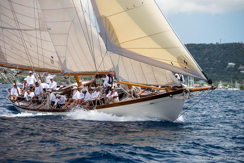 Mary Rose sailing in the Antigua Classic Yacht Regatta, Cannon Race.