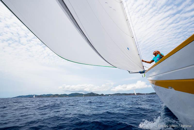 Sailing onboard Free in the Antigua Classic Yacht Regatta, Cannon Race.