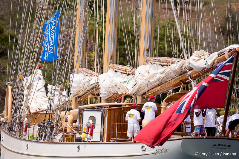 Adix at the parade of sail at the Antigua Classic Yacht Regatta.