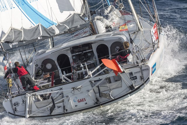 23/12/2014, Barcelona (ESP), Barcelona World Race 2014-15, Barcelona Trainings, GAES Centros Auditivos, Gerard Marin, Anna Corbella