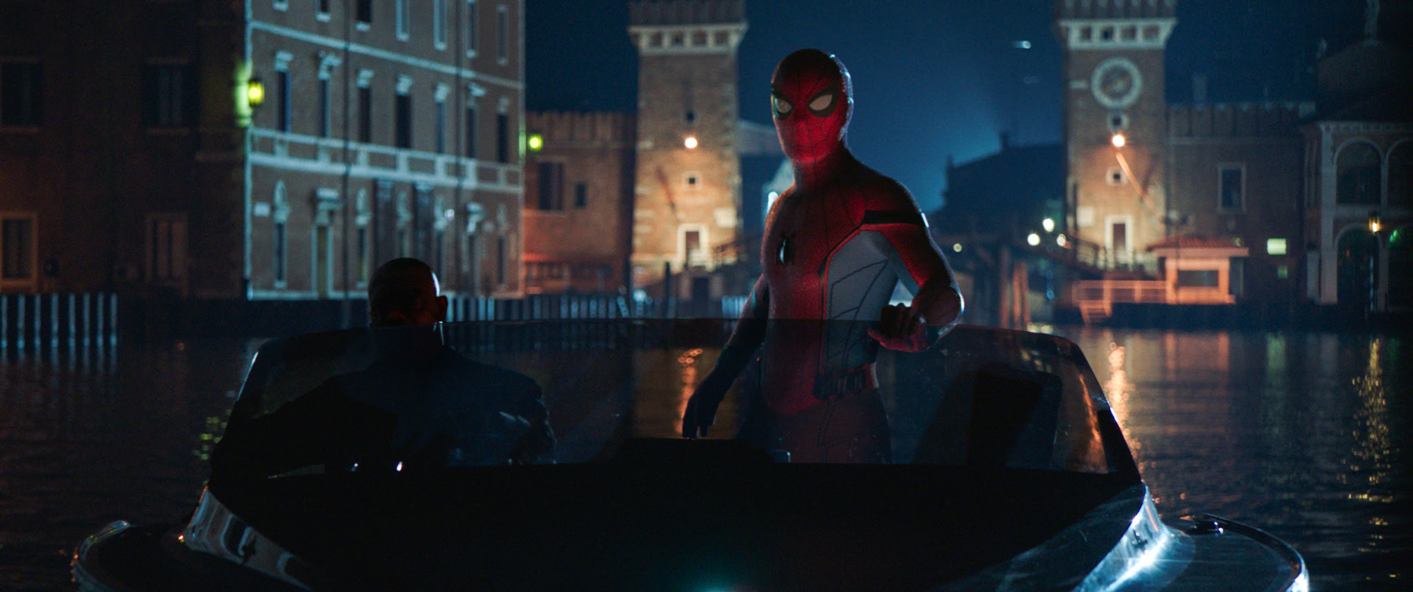 Nick Fury and Spider-man in Columbia Pictures SPIDER-MAN: ™ FAR FROM HOME'.