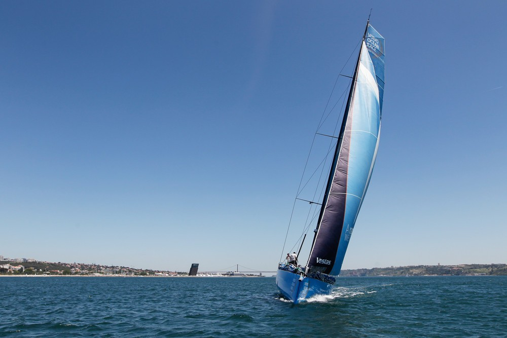 May 30, 2015. Team Vestas Wind at sea for their first test sail following their comeback from grounding on the Cargados Carajos Shoals, 6 months ago.