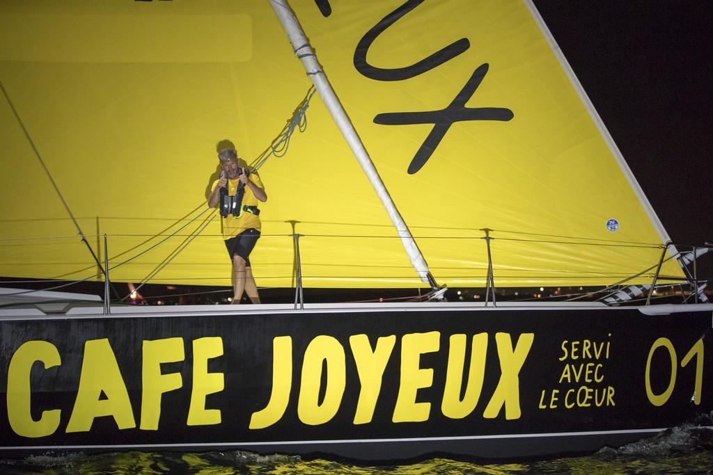 Sidney Gavignet, skipper du Rhum Mono Cafe Joyeux, vainqueur de la Route du Rhum-Destination Guadeloupe 2018 - Pointe a Pitre le 20/11/2018