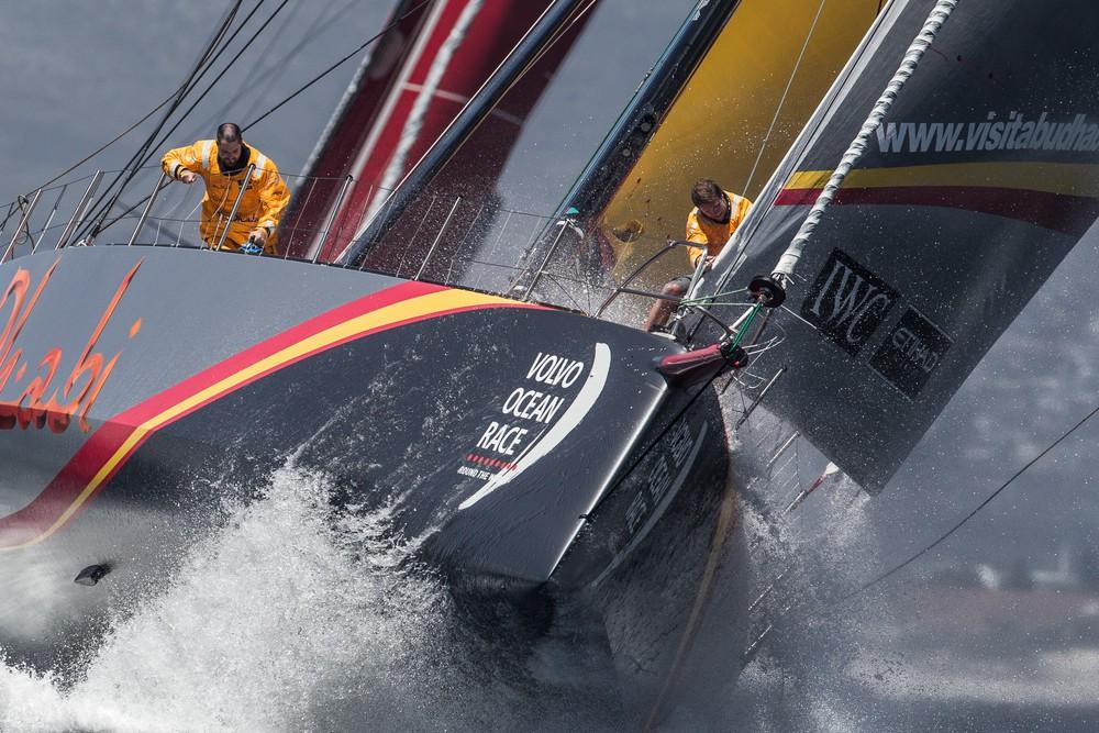 SOUTH AFRICA, Cape Town. 14th November 2014. Volvo Ocean Race. In-Port practice race. Abu Dhabi Ocean Racing. Luke Parkinson, bowman, and Matt Knighton, on board reporter.