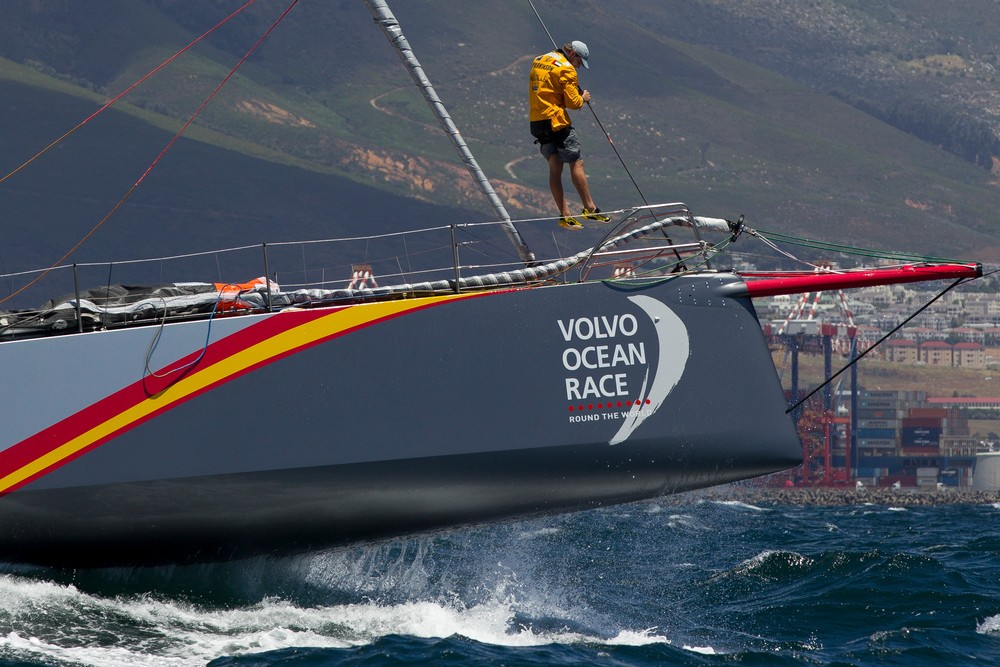 SOUTH AFRICA, Cape Town. 14th November 2014. Volvo Ocean Race. In-Port practice race. Abu Dhabi Ocean Racing. Luke Parkinson, bowman.