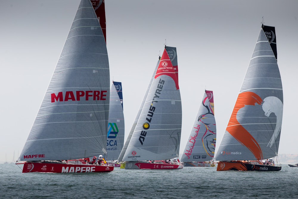 June 7, 2015. The fleet during the start of leg 8.