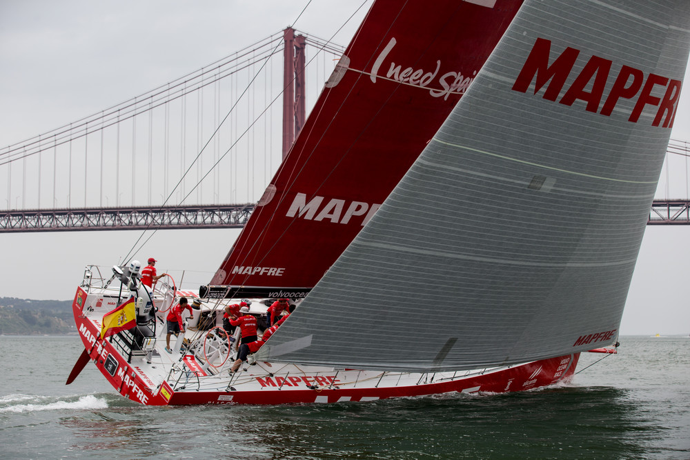 June 7, 2015. MAPFRE during the start of leg 8.