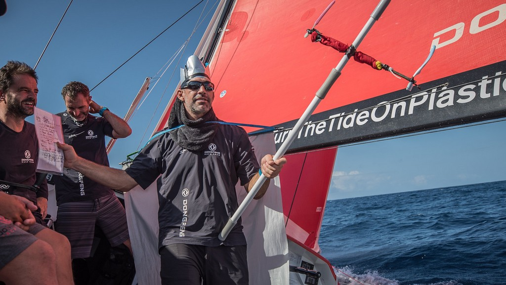Leg 02, Lisbon to Cape Town, day 09, sunrise on board Dongfeng. Photo by Jeremie Lecaudey/Volvo Ocean Race. 13 November, 2017.