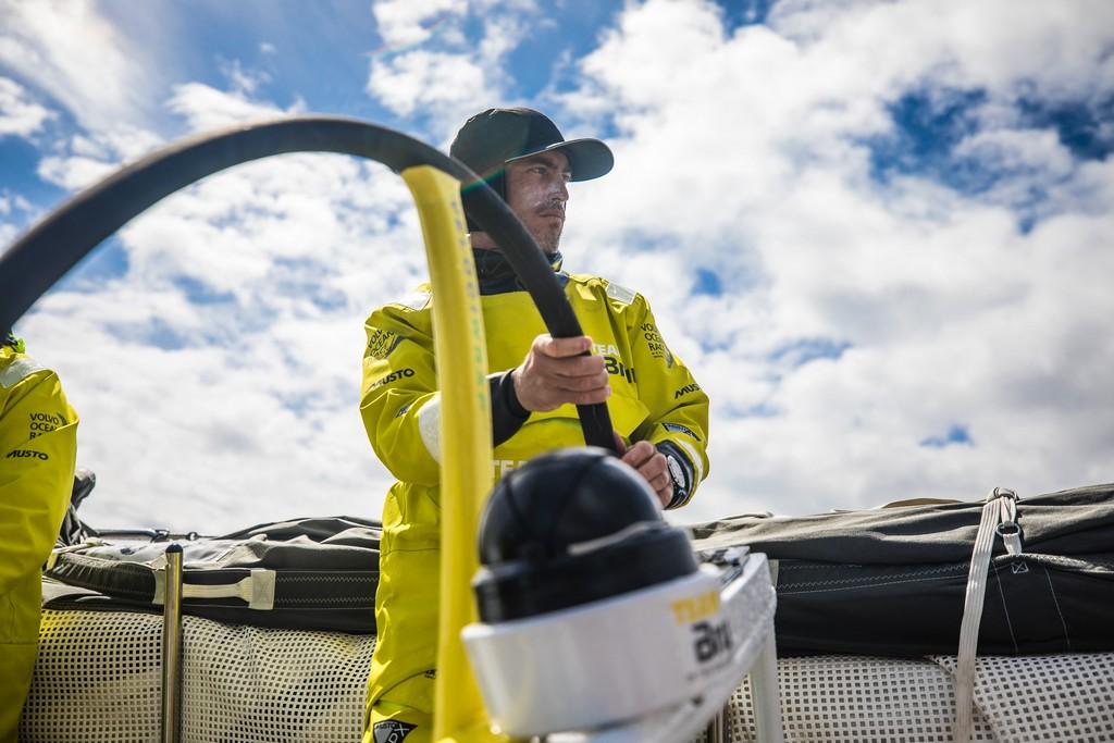 Leg 3, Cape Town to Melbourne, day 10, on board Brunel, Alberto Bolzan stearing. Photo by Ugo Fonolla/Volvo Ocean Race. 19 December, 2017.