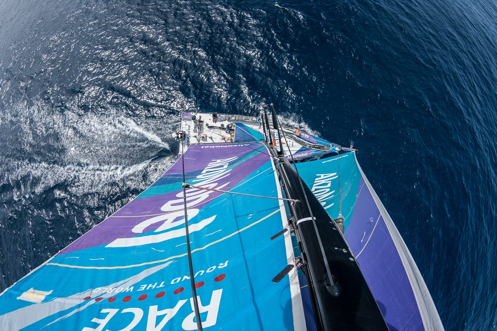 Leg 3, Cape Town to Melbourne, day 17, on board AkzoNobel. Aerial view 1. Photo by James Blake/Volvo Ocean Race. 26 December, 2017.