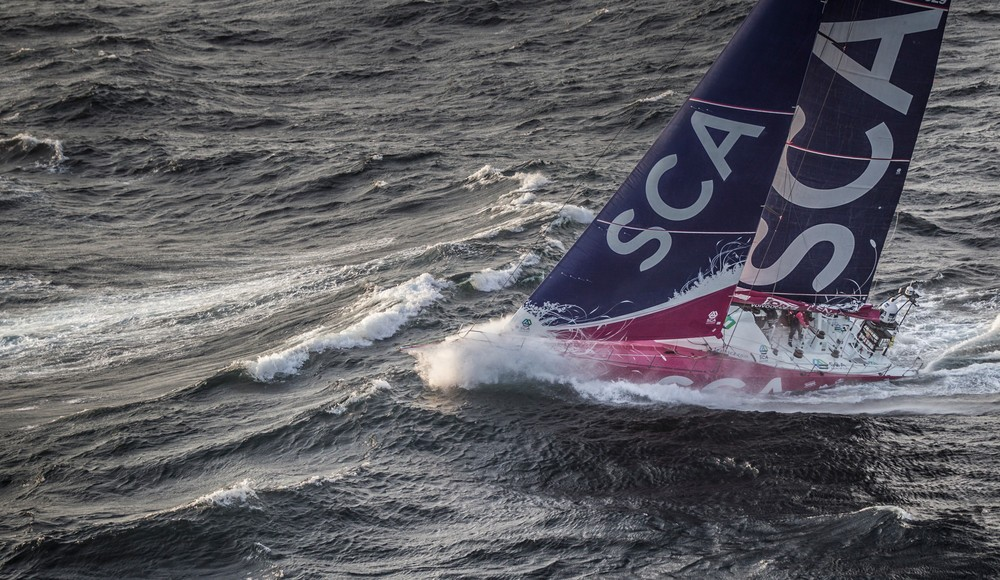 June 09, 2015. Team SCA passing by Costa da Morte - Coast of Death - in Spanish waters during Leg 8 to Lorient.