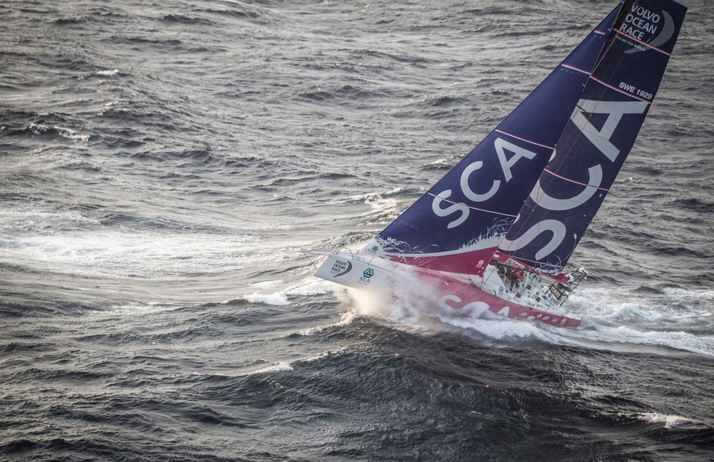 June 09, 2015. Team SCA passing by Costa da Morte - Coast of Death - in Spanish waters during Leg 8 to Lisbon.