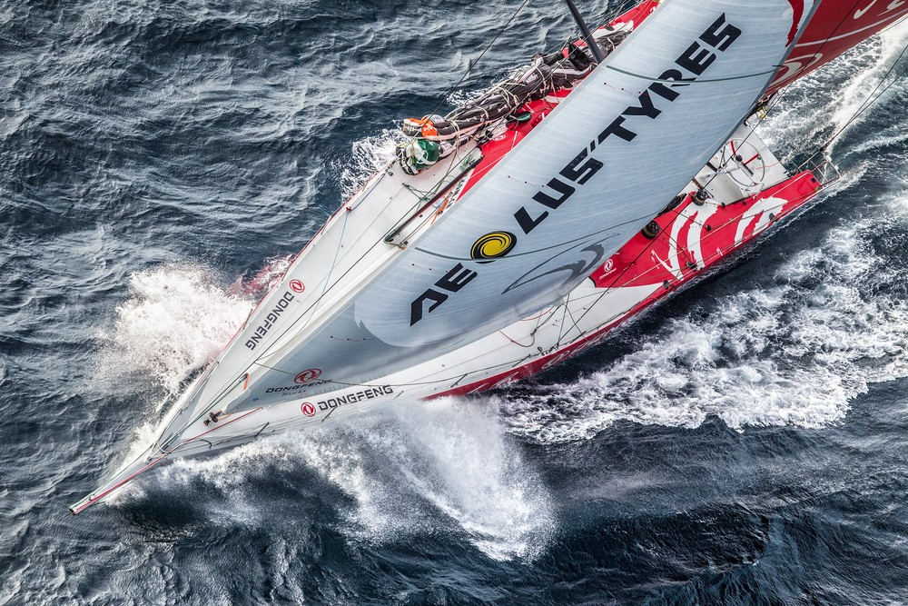 June 09, 2015. Dongfeng Race Team passing by Costa da Morte - Coast of Death - in Spanish waters during Leg 8 to Lorient.