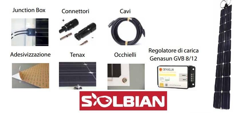 Kit Pannello Solare Flessibile : Kit pannelli solari vela mistro