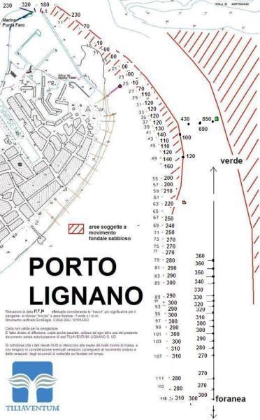 mappa fondali entrata porto lignano