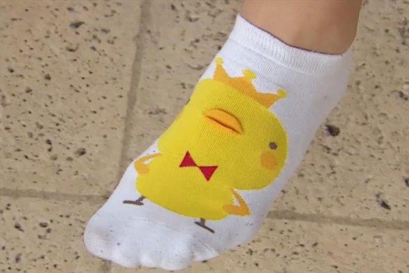 Evi Van Acker and her socks